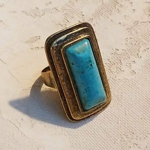 Turquoise Gemstone Statement Ring Antiqued Brass